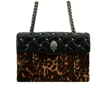 Kurt Geiger Leather Leopard Kensington Bag £229 Brown Black Quilted Studded