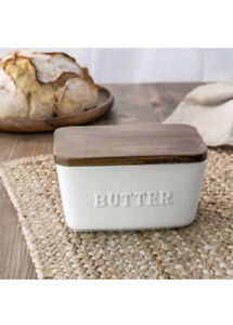 Better Homes & Gardens Porcelain Embossed White Butter Dish Acacia Wood Lid New