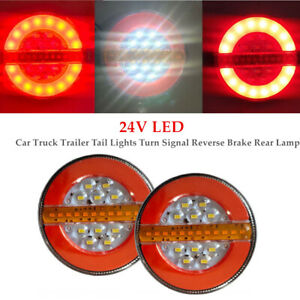 2×4''24V LED Car Truck Trailer Tail Lights Turn Signal Reverse Brake Rear Lamp