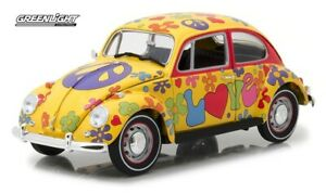 Greenlight 1:18 Hippie Peace & Love 1967 VW Beetle Right Hand Drive