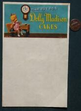 1940s Dolly Madison Snack Cakes unused letterhead with EARLY schoolgirl mascot!
