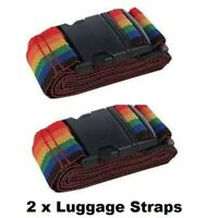 2 x Luggage Suitcase Lock Belt Strap Travel Baggage Tie Adjustable TWIN PACK UK