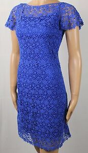 Ralph Lauren Knee Length Short Sleeve Royal Blue Lace Dress NWT $184
