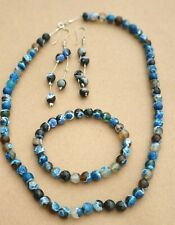 Natural Agate Stones Beads Sterling Silver Earring Necklace Bracelet Set 69 gr