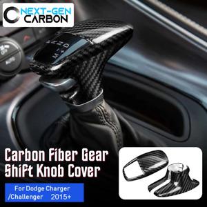 2015-2021 Dodge Challenger Charger Carbon Fiber Shift Knob Cover Shifter Kit