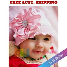 Pink Flower Baby Infant Newborn Toddler Childrens Girls Hats Cap Beanie Hair Sun