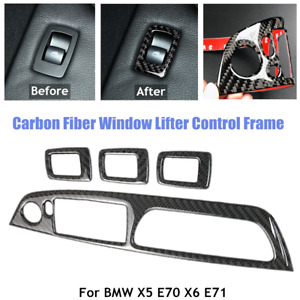 Carbon Fiber Window Lifter Control Switch Panel Frame Fit For BMW X5 E70 X6 E71