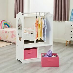 Children's Storage Unit with Two Fabric Storage Boxes - White and Pink