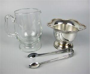 Superb vintage tea set: glass MILK JUG & silver plated SUGAR BOWL with tongs.