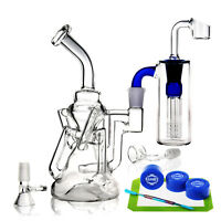 REANICE bong glass water recycler pipe 14.5mm 22cm glass bubbler-D