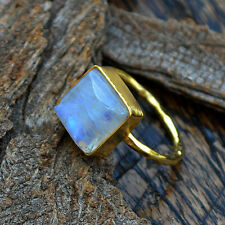 AAA Rainbow Moonstone Gemstone Solid 14K Yellow Gold Wedding Gift Ring Size 7