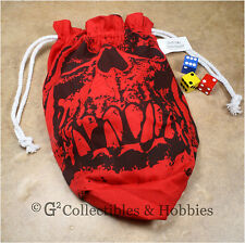 NEW Extra Large Red Orc Skull Dice Bag RPG Game Gaming D&D Crystal Caste