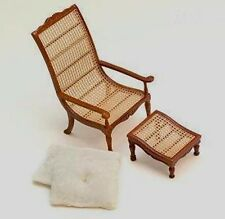 WICKER CHAIR & OTTOMAN LIVING ROOM BEDROOM DOLLHOUSE MINIATURES 1:12 SCALE