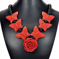 Red Rose & Cinnabar Butterfly Pendant Necklace Handcrafted Gemstone Jewellery UK