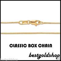 """0.8mm Solid Venetian Box Chain Necklace Real 14K Yellow Gold 16 18 20 22 24 30"""""""