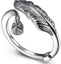 ELLE Jewelry - Sterling Silver Feather & CZ Bypass Ring