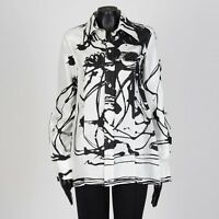 CELINE 2290$ Abstract Print Shirt In Black & White Mulberry Silk by Phoebe Philo