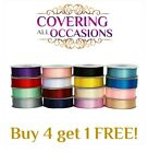 Satin Ribbon Double Sided Faced Premium Full Reel Roll 3mm 6mm 10mm 15mm 25mm <br/> Buy 4 get 1 free (add 5 items to basket to qualify)