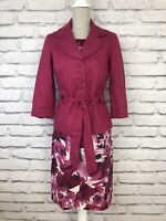 LAURA ASHLEY Pink Floral Print Occasion Dress & Jacket Mother of Bride Outfit 10