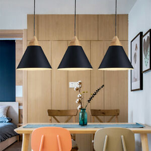 3X Black Pendant Light Wood Ceiling Lamp Home Chandelier Lighting Modern Lights