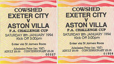 1994 pair of used FA Challenge cup football tickets Exeter v Aston Villa