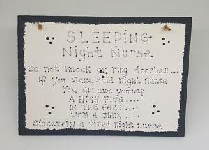 Night shift worker, night nurse, plaque, sign, do not disturb sign, new
