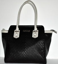 Kenneth Cole Purse Satchel Quilted Black White Trim