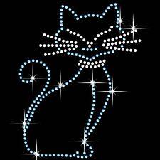 Gato En Hierro Hotfix Cristal Diamante T Shirt Estampado parche Gem