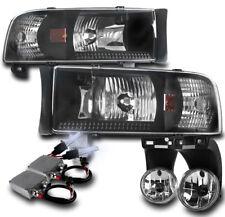 1994-2001 DODGE RAM PICKUP BLACK CRYSTAL HEADLIGHT+DRIVING FOG LAMP W/50W 8K HID