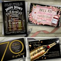 Personalised Birthday Invitations Party Invites / 18th 21st 30th 40th 50th 60th