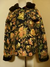 EUC VINTAGE MOSCHINO NAVY FLORAL COTTON REVERSIBLE BOMBER JACKET SIZE 10