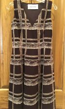 New VALENTINO Dark Brown Wool Lace Panel A-LINE Dress Size 8 $3,290 Luxury