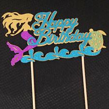 Starfish Mermaid Happy birthday Cake Toppers Cupcake Baby Shower Decor S&