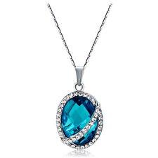 Lady Oval Blue Sapphire Pendant Necklace 18K White GP Swaroski Crystal Jewelry
