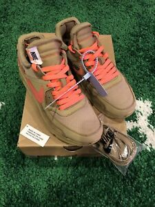 Pre-owned OFF WHITE  Air Max 90 Desert Ore Size 7M (AA7293 200) New