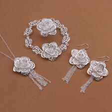 Stunning Silver Ring&Earrings&bracelet&Necklace Sets