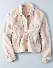 American Eagle Women's Spring Classic Destroyed  Pale Pink Denim Jean Jacket XL