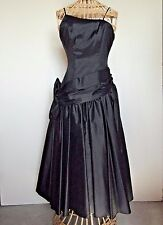 Black Taffeta Asymetrical Bodice Spaghetti Strap Dress sz 7/8 Dancehall Costume