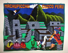 37x47 Large MACHUPICCHU CUZCO PERU Alpaca Wallhanging Handmade Rug Art