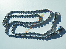 Chaine Longue Collier 60 cm Argent Pur Acier Inoxydable Maille Torsadé Wire 3 mm