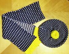 Mini Boden Girls Knit Hat Scarf Beret Set 11-12 yr Navy Pink & Yellow