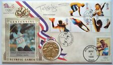 TESSA SANDERSON 1984 OLYMPIC GAMES GOLD MEDAL SIGNED COMMEMORATIVE FDC