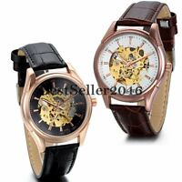 Steampunk Men Auto Mechanical Skeleton Leather Military Sport Army Wrist Watch