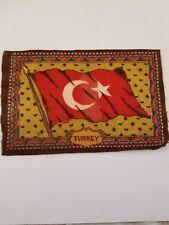 Vintage and Rare early 1900s Cigar Box Felt silk flag, Turkey