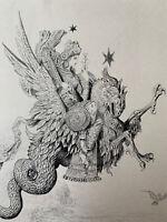 Gustave Moreau Gravure eau forte etching Mythologie La Péri Dragon