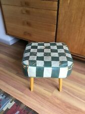 Mid Century Beech Dansette Leg & Green Patch Leather Stool/Foot/Pouffe  #1122