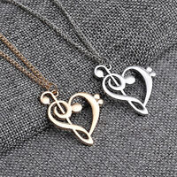 New Love Heart Treble Clef Music Note Elegant Silver Plated Pendant Necklace xz
