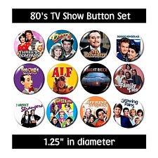 80's Tv Buttons (set #4) pins television 1980's eighties new