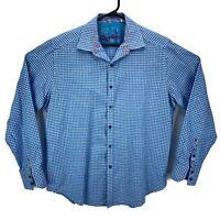 Robert Graham Men's Long Sleeve Dress Shirt Size L Blue White Checks Flip Cuff