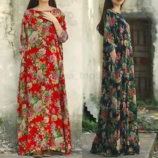 6316617551c ZANZEA Vintage Womens Long Sleeve Loose Floral Print Long Maxi Dress Kaftan  Tops